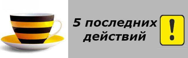 Узнать 5 последних действий - Билайн